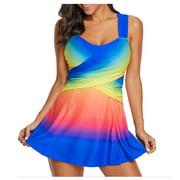 WOCLEILIY Women Plus Size Tankini Swimjupmsuit Swimsuit Beachwear Padded Swimwear Solid