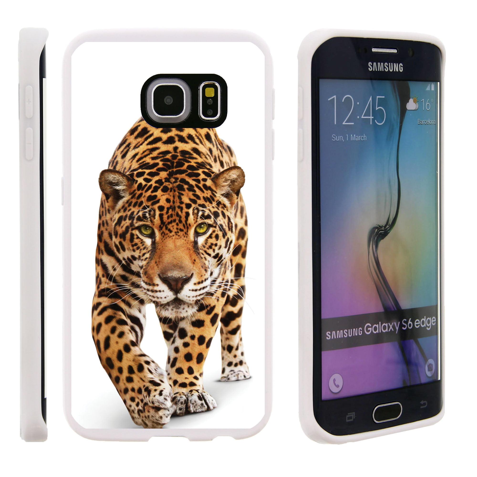 Samsung Galaxy S6 Edge G925, Flexible Case [FLEX FORCE] Slim Durable TPU Sleek Bumper with Unique Designs - Cheetah Walking