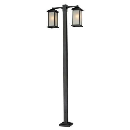Image of Z-Lite-547-2-536P-BK-Vienna - Two Light Outdoor Post Black Finish with White Seedy Glass