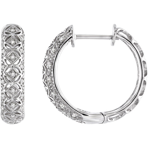 1/6 Carat T.W. Diamond Sterling Silver Hoop Earrings