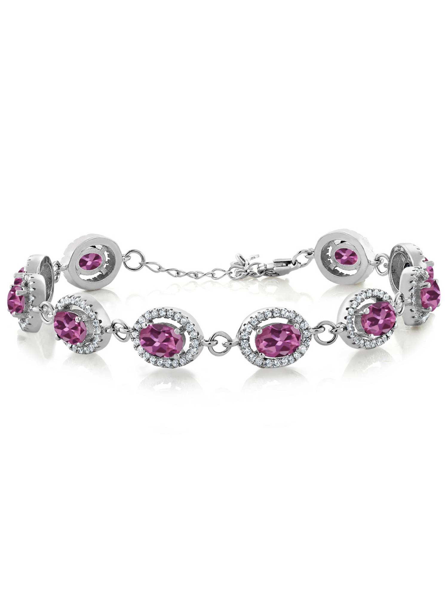 9.88 Ct Oval Pink Tourmaline AA 925 Sterling Silver Bracelet by