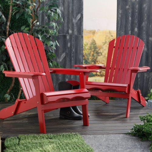 Cape Cod Foldable Adirondack Chairs - Red - Set of 2