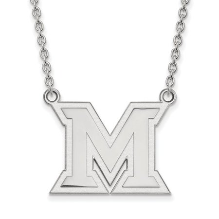 Sterling Silver Logoart Official Licensed Collegiate 18In Miami University  Mu  Large Pendant W Necklace