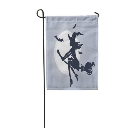 Bat Silhouette (SIDONKU Hat Flying Young Witch on Broomstick Silhouette Autumn Bat Garden Flag Decorative Flag House Banner 12x18)