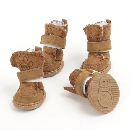 Unique Bargains2 Pairs Coffee Color Hook Loop Fastener Winter Pet Dog Puppy Booties Shoes XS