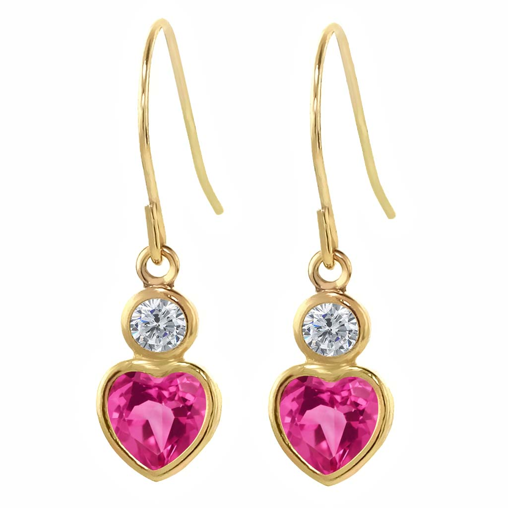 1.40 Ct Heart Shape Pink Created Sapphire G H Diamond 14K Yellow Gold Earrings by