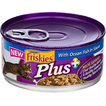 Friskies Plus+ Cat Food with Ocean Fish in Sauce, 5.5 OZ