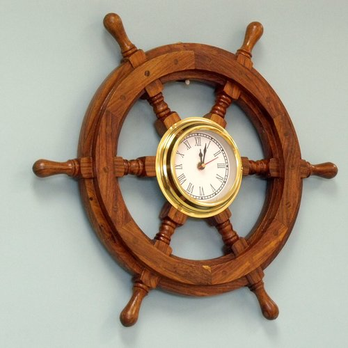 Handcrafted Nautical Decor Deluxe Class 18'' Wood and Chrome Pirate Ship Wheel Clock