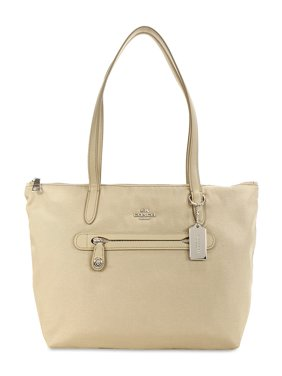 Coach Nylon Zip Tote - Silver/Putty