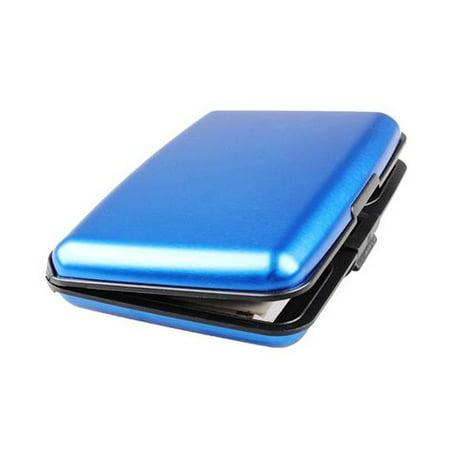 Aluminum RFID Blocking Credit Card Wallet Case  - Blue Credit Card Case Wallet