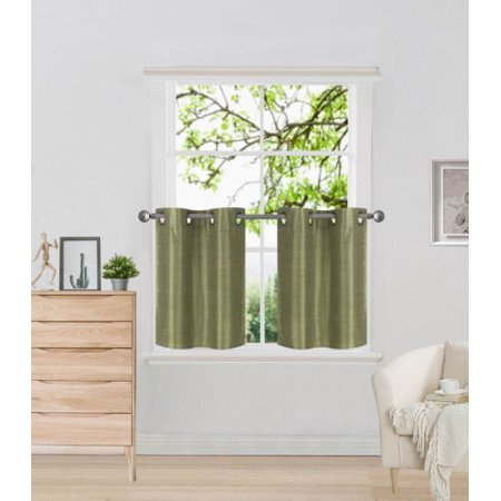 D2 Lime Green 1 Pair Of Solid Insulated Grommet Treatment Curtains For Short Windows Livingroom Bathroom Or Kitchen Two 2 Piece Faux Silk