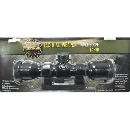 BSA Optics Tactical Weapon 4x30mm, Mildot Reticle w/ Rings Scope, Black, 4x30mm