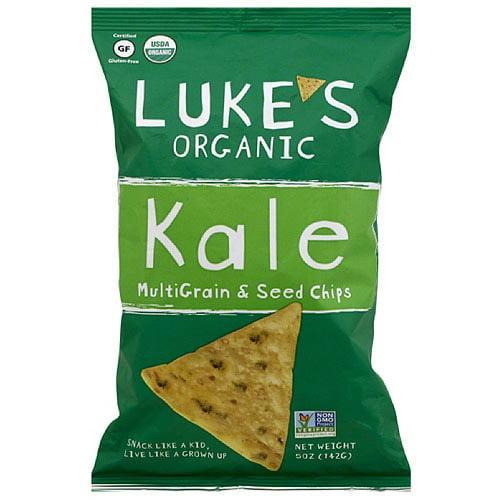 Luke's Organic Kale MultiGrain & Seed Chips, 5 oz (Pack of 12)