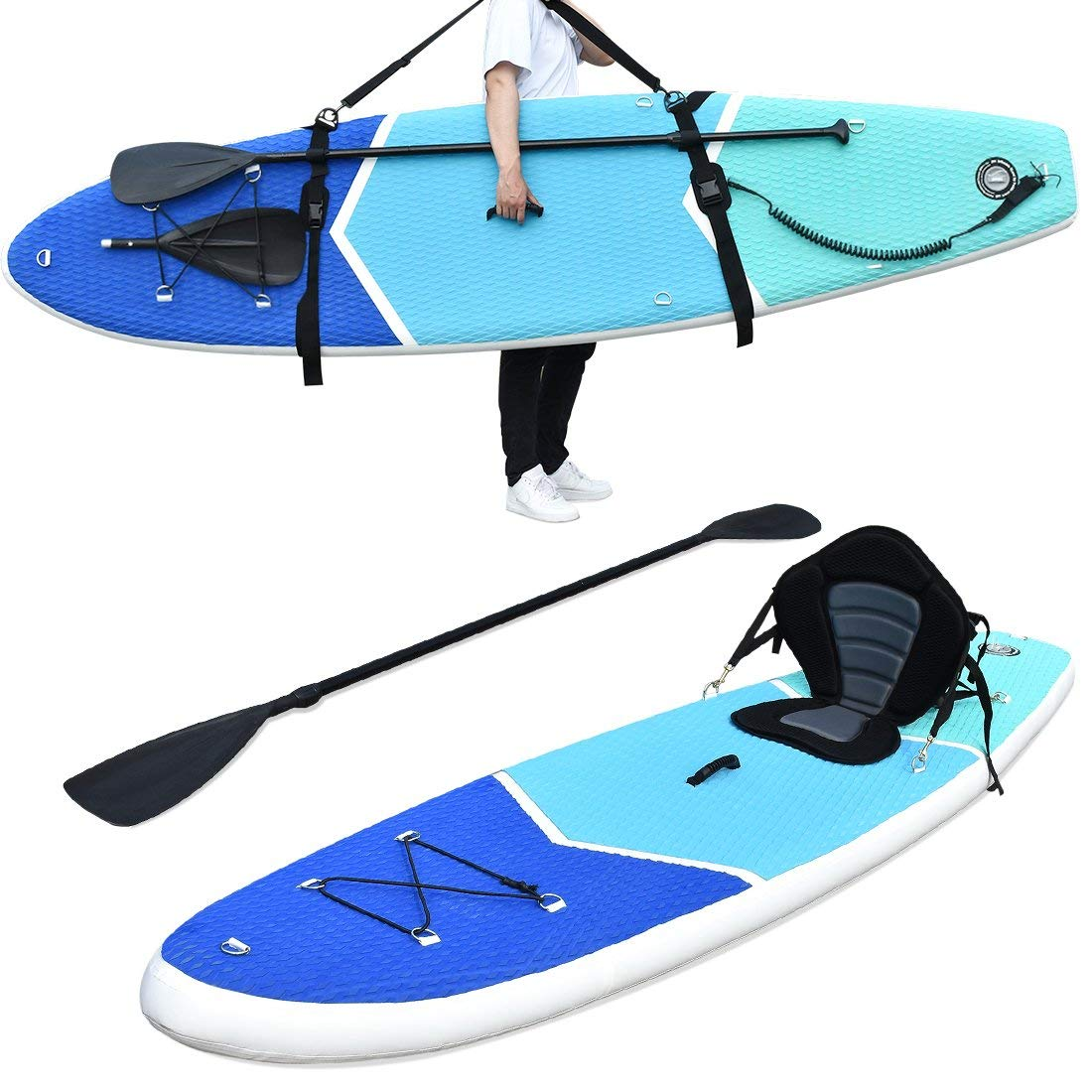"Zupapa All in One Inflatable Stand Up Paddle Board 6"" Thick 10' Non-Slip Deck with Kayak Conversion Kit, Shoulder Strap, Backpack, Coil Leash, Pump"