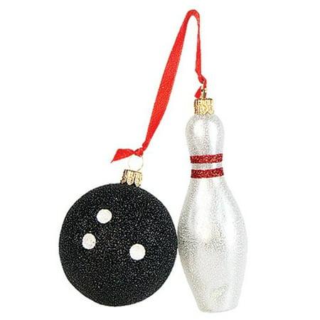Pinnacle Peak Trading Co Pinnacle Peak Glass Bowling Ball and Bowling Pin Christmas Ornament Set (Trading Christmas Cast)
