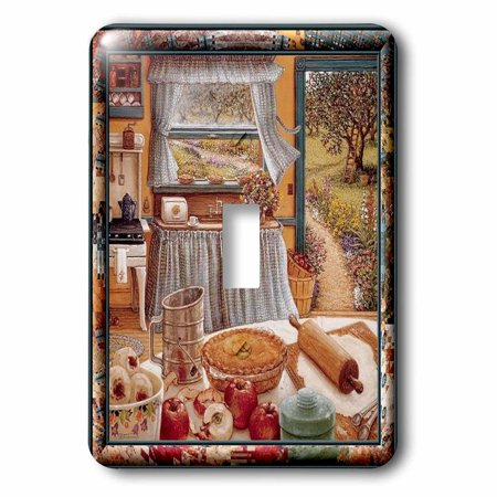 3dRose Home cooking and country art, apple pie and kitchen art, 2 Plug Outlet Cover