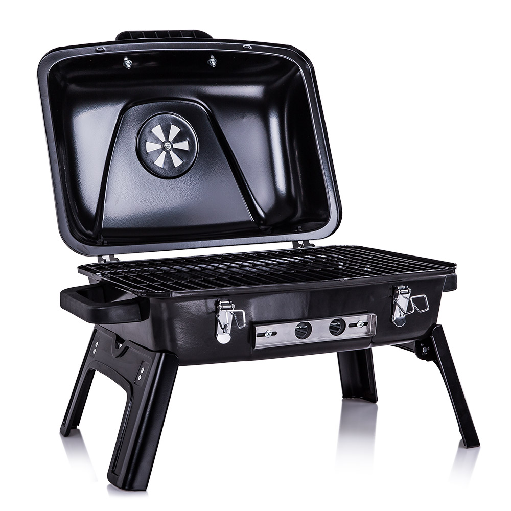 Outdoor Charcoal Barbecue Grill Enamel BB Grill Tabletop Grill with Folding Legs Backyard Picnic