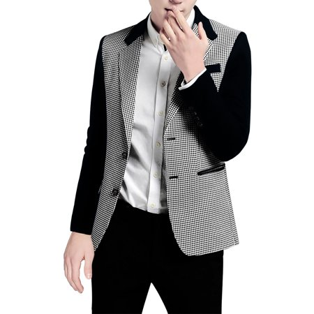 Cotton Notched Collar Coat (Men's Houndstooth Pattern Notched Lapel Split Side Casual Jacket)