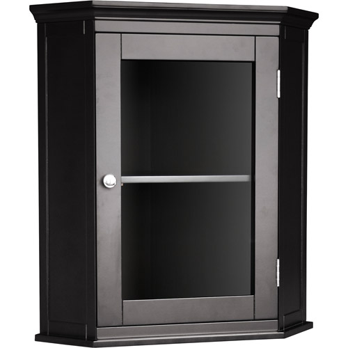 Classy Collection Corner Wall Cabinet, Dark Espresso