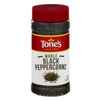 Tone's Black Peppercorns Whole, 9 oz $.78/oz