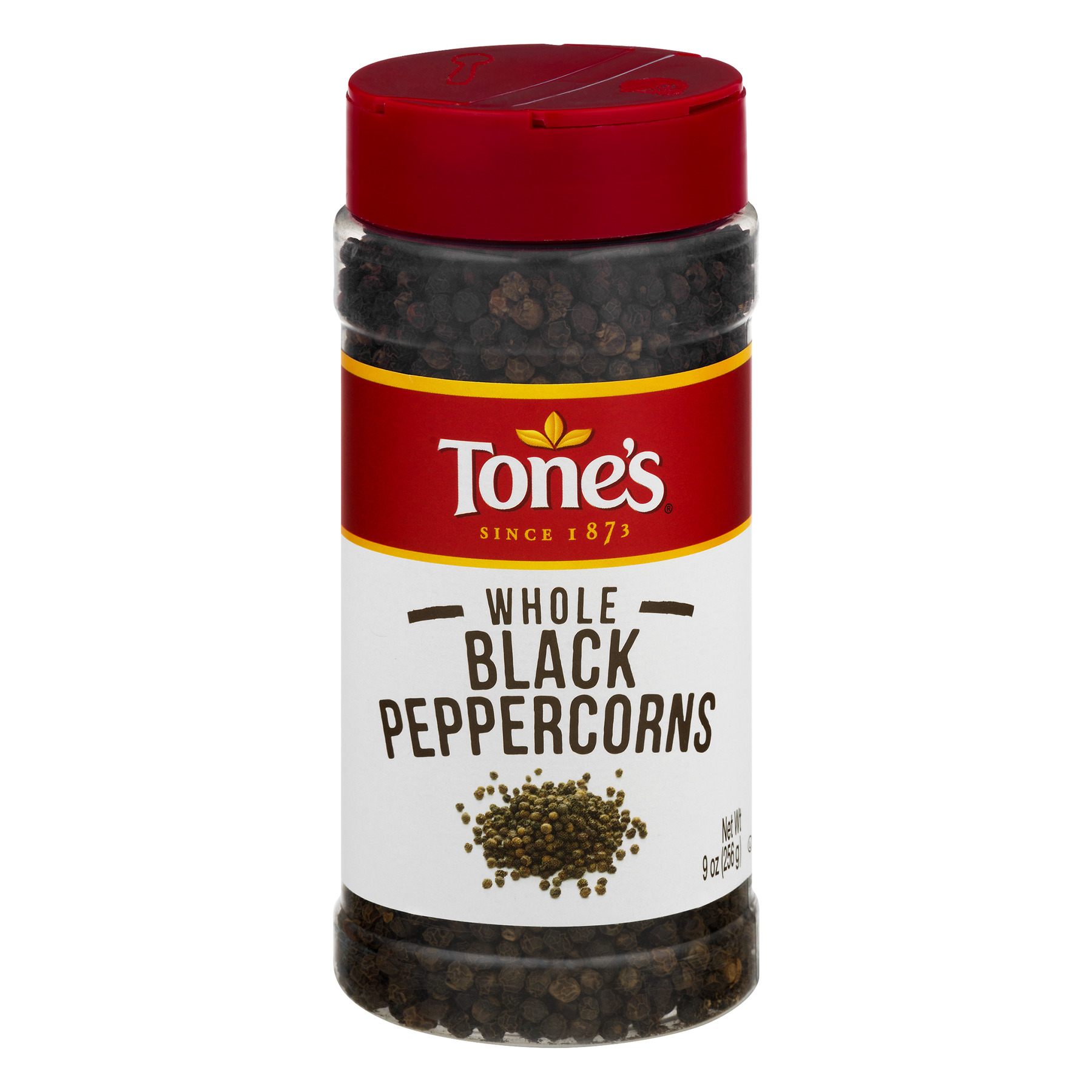Tone's Black Peppercorns Whole, 9 oz $.78/oz