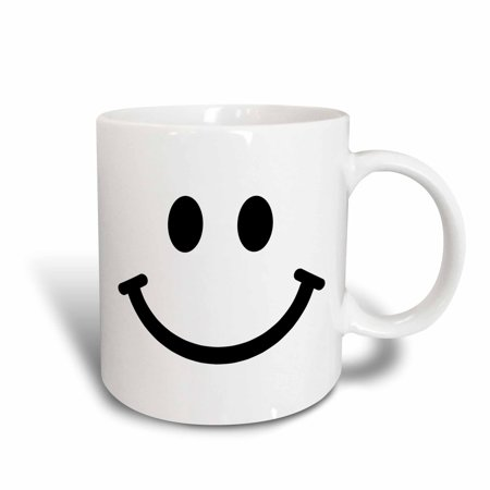 - 3dRose Smiley face square - black and white smile - happy smiling cartoon - cute smilies 60s sixties, Ceramic Mug, 11-ounce