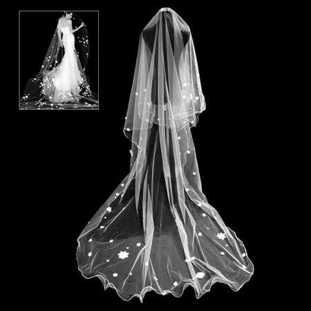 Wedding Chapel Bridal Crystal - AkoaDa White Wedding Party Prom Long Gypsophila Bridal Veils Chapel Curled Popular