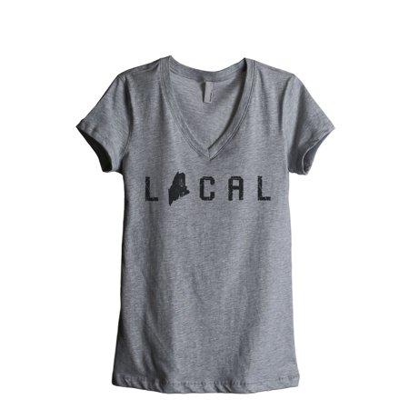 Thread Tank Local Maine State Womens Relaxed V Neck T Shirt Tee Heather Grey Small