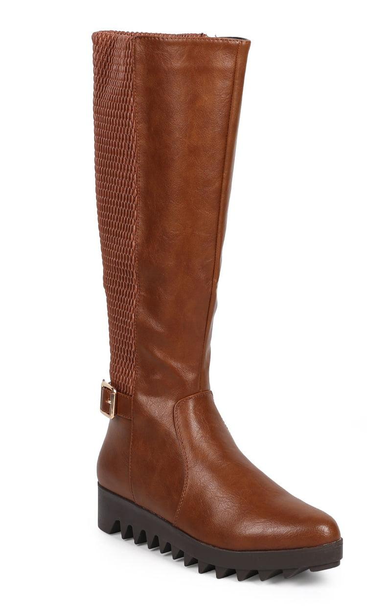 Women Leatherette Knee High Elastic Lug Sole Zip Riding Boot DA57