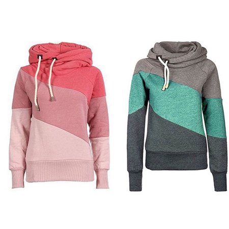 Women's Funnel Cowl Neck Thick Solid Hooded Pullover Dodge Charger Cowl Hood