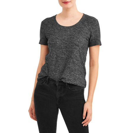 - Women's Short Sleeve Textured Crewneck T-Shirt