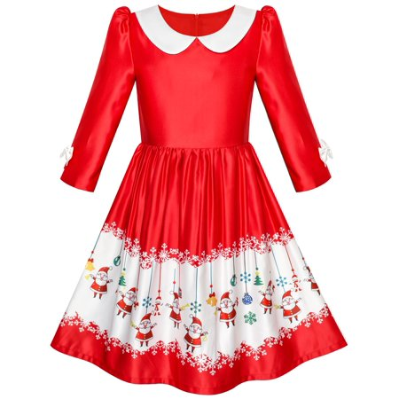 Girls Dress 3/4 Sleeve Christmas Santa Jingle Bell Snow 4 - Snow Coming Dresses