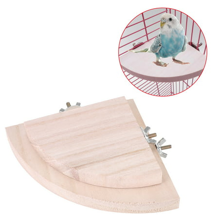 Dilwe 2Pcs Wooden Fan Shape Bird Cage Perches Stand Platform Toy for Pet Hamster Parrot Hot, Bird Platform, Bird Stand Platform