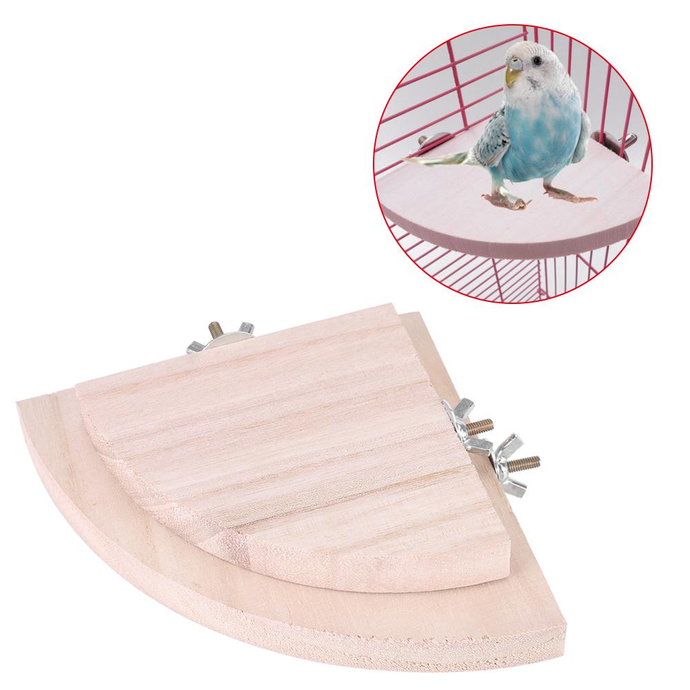 VBESTLIFE Bird Cage Perch, Bird Platform,2Pcs Wooden Fan Shape Bird Cage Perches Stand Platform Toy for Pet Hamster Parrot Hot