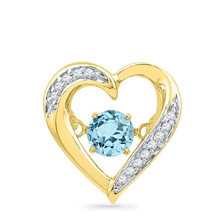 - Solid 10k Yellow Gold Round Simulated Blue Topaz And White Diamond Prong Set Solitaire Heart Pendant (.04 cttw)