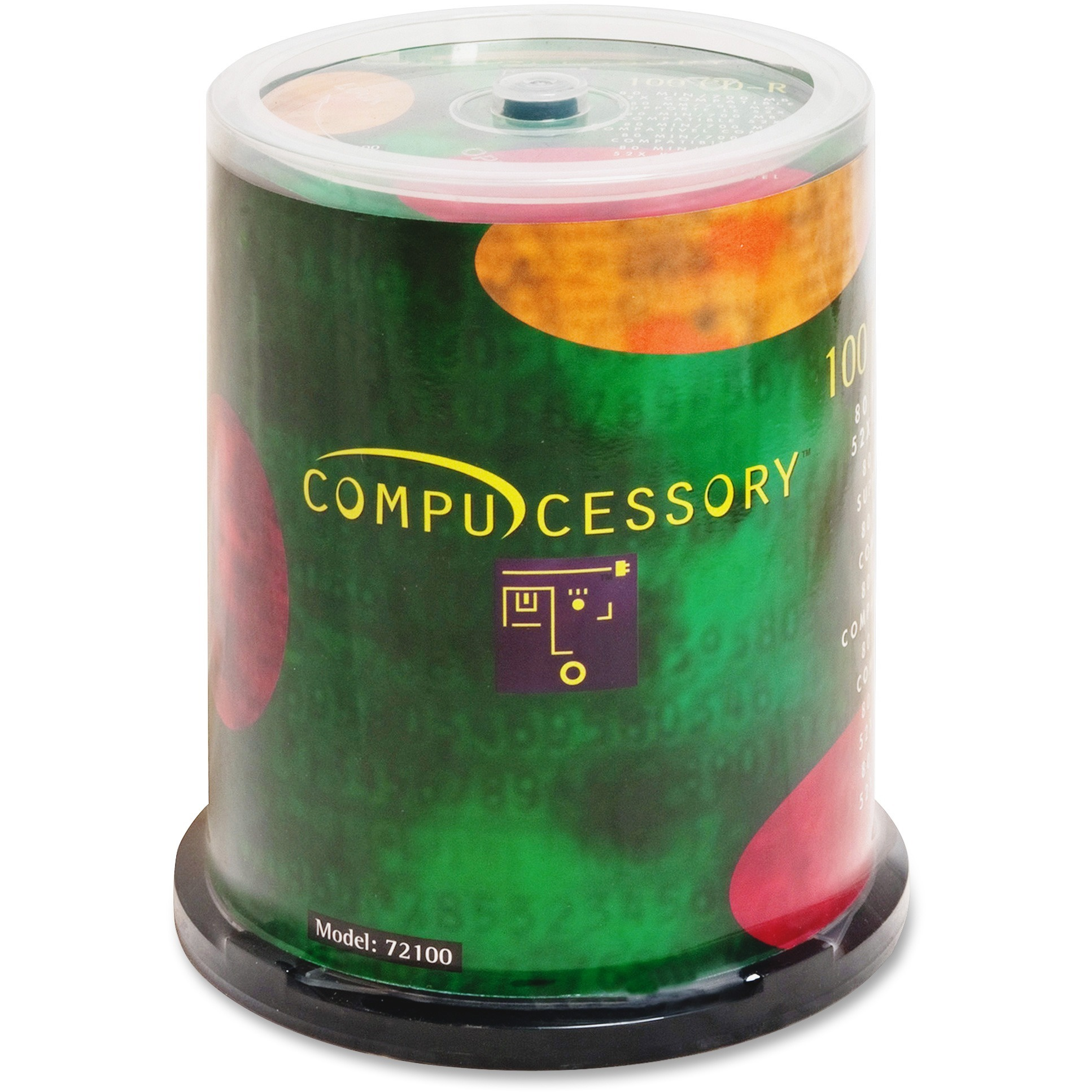 Compucessory, CCS72100, Branded Recordable CD-R Spindle, 100