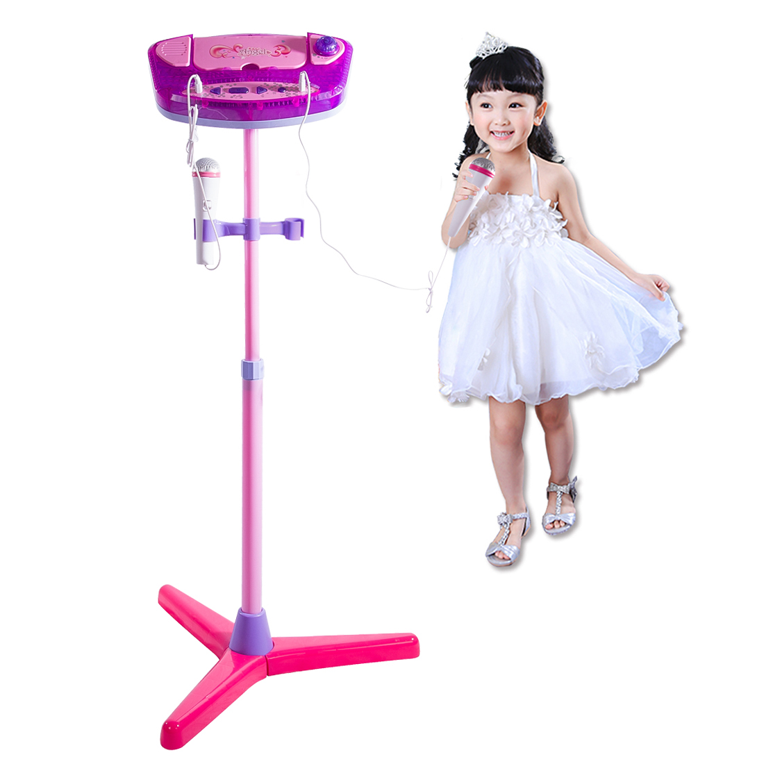 Karaoke Machine Stand Microphones Adjustable Music Toy with Bluetooth for kids - Upgrade Type Pink