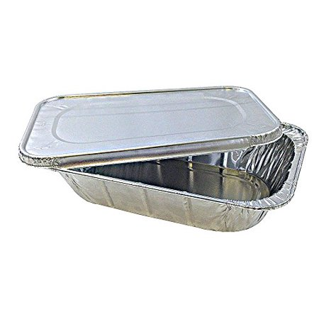 Quarter-Size Aluminum Foil Steam Table Pan with Lid - Disposable Food Storage Baking Containers