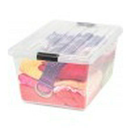 Iris 44 Quart Buckle Down Storage Box  Clear