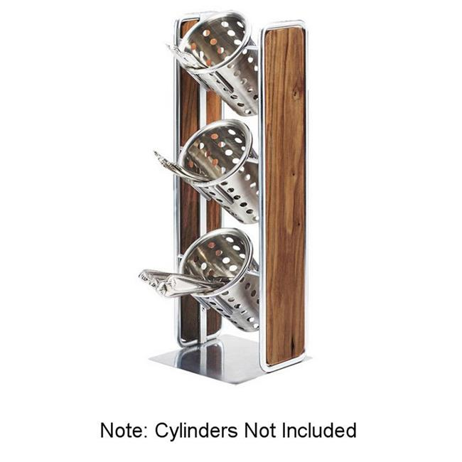 Cal Mil 3715-49 Mid-Century 3 Compartment Vertical Wooden Organizer with Chrome Accents - 6.5 x 6.5 x 19.5 in. - image 1 de 1