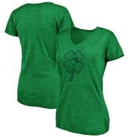 Toronto Blue Jays Fanatics Branded Women's St. Patrick's Day Celtic Charm Tri-Blend V-Neck T-Shirt - Green