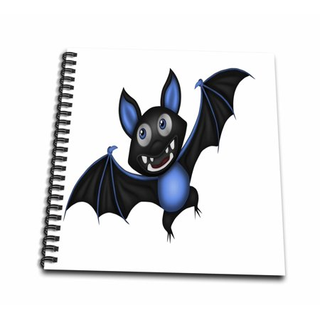 3dRose Cute Blue and Black Halloween Bat Illustration - Mini Notepad, 4 by 4-inch