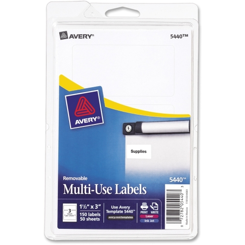 "Avery Print or Write Removable Multi-Use Labels, 1-1/2"" x 3"", White, 150 Pack"