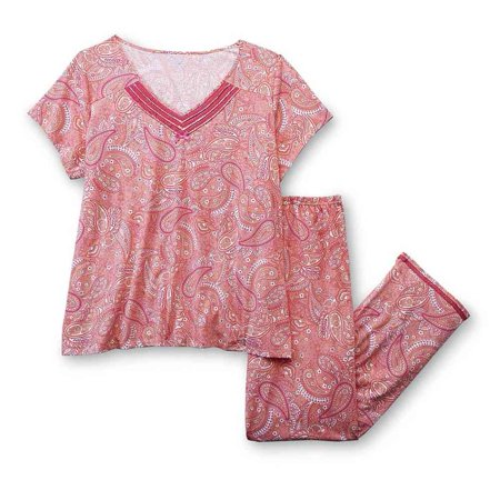 Laura Scott Womens Peach Paisley Pajamas Lightweight Short Sleeve Pajama Set