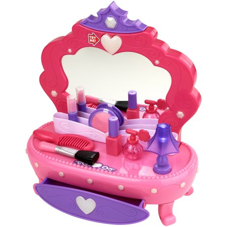 Groovy Girls Vanity - Kid connection 13-piece light up vanity set with working storage drawer