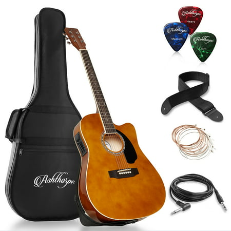 (Ashthorpe Full-Size Cutaway Thinline Acoustic-Electric Guitar Package - Premium Tonewoods)