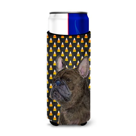 French Bulldog Candy Corn Halloween Portrait Ultra Beverage Insulators for slim cans - Anti Halloween France