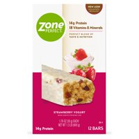 ZonePerfect Protein Bars, Strawberry Yogurt, 14g of Protein, Nutrition Bars With Vitamins & Minerals, Great Taste Guaranteed, 12 Bars