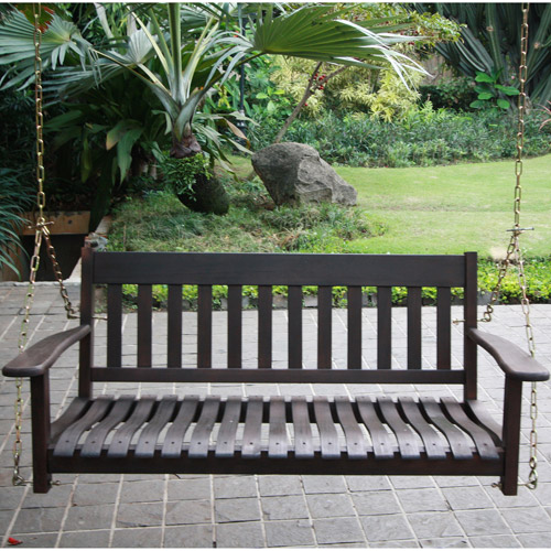 Delahey Outdoor Porch Swing, Dark Brown, Seats 2