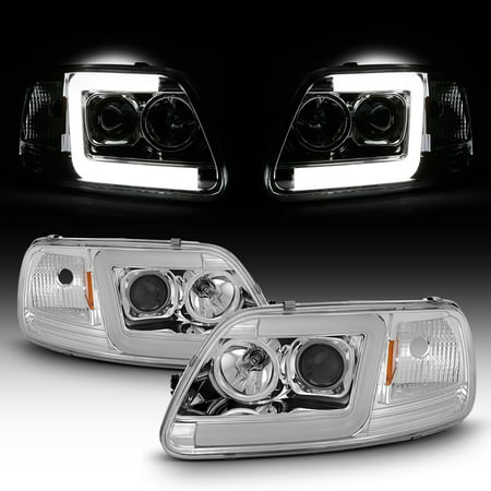 Fits 97-03 Ford F150 / 97-02 Expedition LED Light Bar Projector Headlights